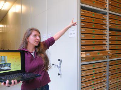 Curator Annelise Folie showing the new repositories