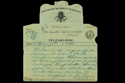 Telegram sent on 12 April 1878 by the Bernissart coal mine to inform the Belgian Royal Museum of Natural History of the discovery of bones incrusted with pyrite