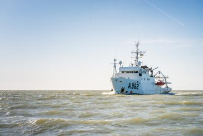 The RV Belgica ends her last campaign as a Belgian oceanographic research vessel, 25 March 2021. Image: Belgian Navy/J. Urbain