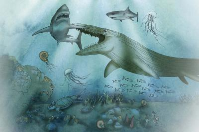 A mosasaur eating a shark, picture shown in the Mosasaur Hall