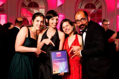 Our museologists Sophie Boitsios, Katelijn De Kesel and Isabelle Du Four with Dirk Bertels of Studio Louter during the award ceremony. (Photo: Museum and Heritage Awards)