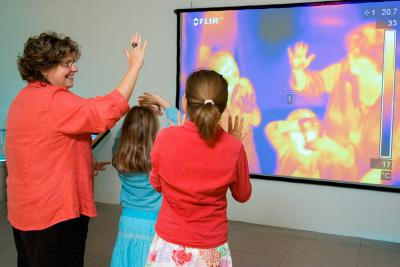 Live thermogram (thermographic image) of a group of visitors