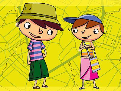"""Visual Trail """"Our Masterpieces"""": two kids ready to follow a trail"""