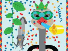 Visual of the Carnival of the Animals trail: an ostrich with a mask blows in a kazoo